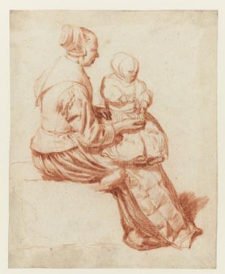 Adrian van de Velde. Woman with child on lap