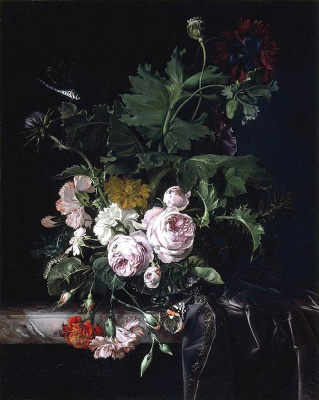Willem van Aelst. Still life with bouquet of flowers and a dragonfly