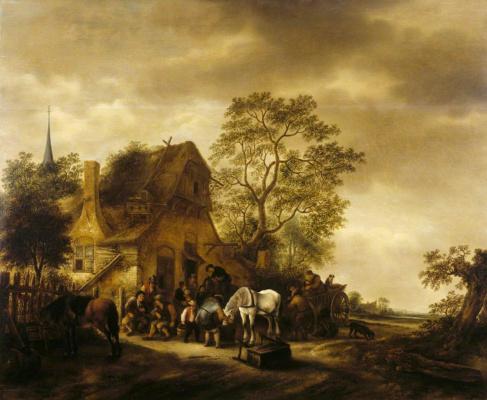 Исаак Янс ван Остаде. Путешественники перед деревенской гостиницей