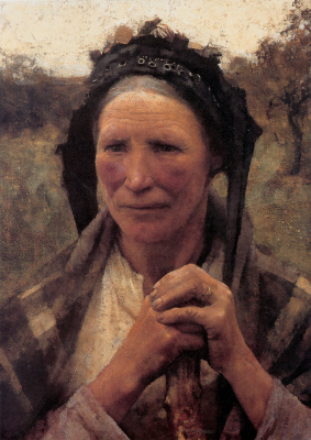 George Clausen. Head of a peasant woman