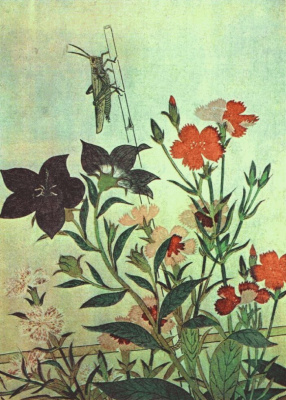 Kitagawa Utamaro. Rice locust red dragonfly pinks Chinese bells