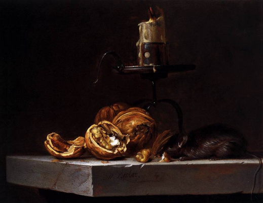 Willem van Aelst. Still life with nuts, candle and mouse