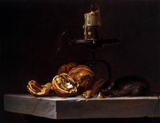 Виллем ван Алст. Натюрморт с орехами, свечой и мышью