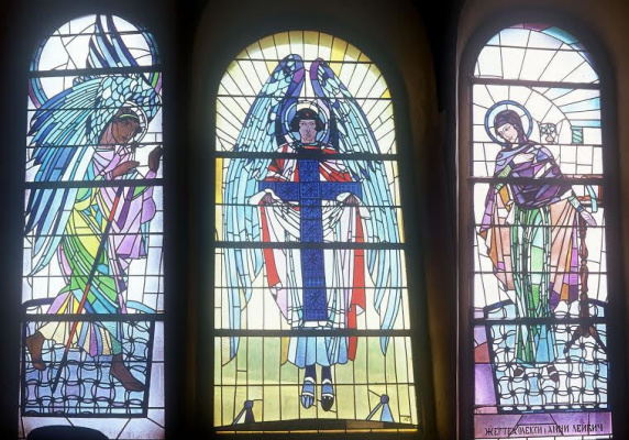 Peter Ivanovich Cold. Annunciation. Stained Glass Church of the Assumption of the Virgin