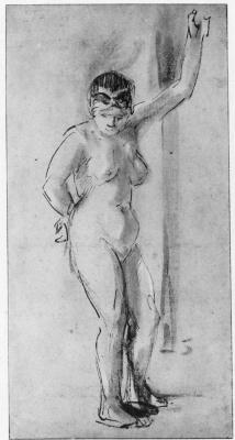 Рембрандт Ван Рейн. Сидящая обнаженная натурщица