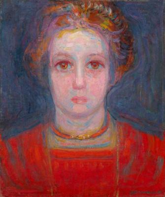 Piet Mondrian. Portrait of girl in red