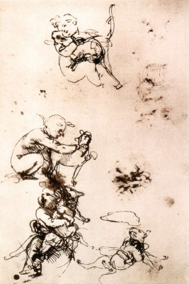 Leonardo da Vinci. Sketches of a child with a cat