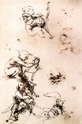 Leonardo da Vinci. Sketches of a child with a cat