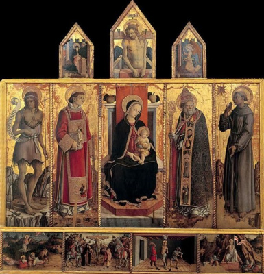 Carlo Crivelli. The altar of the Church of San Silvestro at Massa Fermanagh, General view