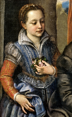 Sofonisba Angisola. Portrait of the family of the artist. Fragment. Sister minerva