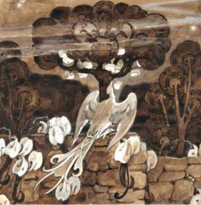 Elena Dmitrievna Polenova. Firebird: Sketch Illustration for The Artist English Journal