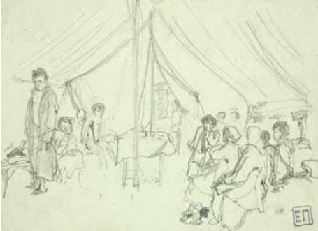 Elena Dmitrievna Polenova. In a hospital tent