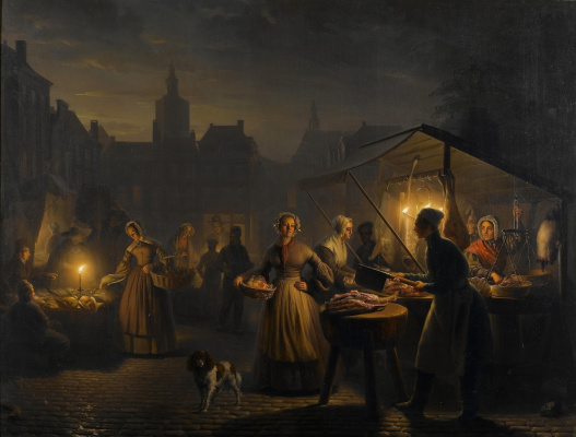 Petrus van Shendel. On the main square in The Hague in the evening.