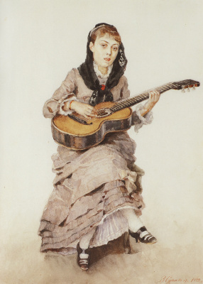 Vasily Ivanovich Surikov. With a guitar. Portrait of Princess S. A. Kropotkina