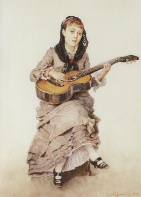 Vasily Ivanovich Surikov. With a guitar. Portrait of Princess S. A. Kropotkina