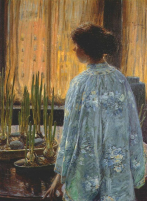 Childe Hassam. The table with plants
