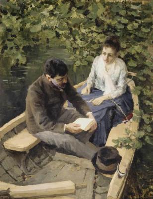 Konstantin Alekseevich Korovin. In the boat. Depicted Konstantin Alekseevich Korovin and artist Maria Vasilievna Yakunchikova