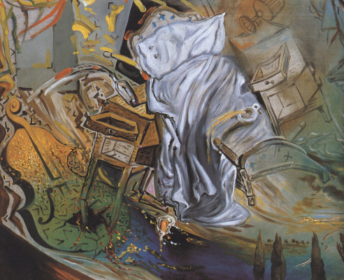 Salvador Dali. Bed and two bedside tables ferociously attacking a cello