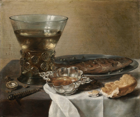 Peter Class. Still Life with Silver Brandy Bowl, Wine Glass, Herring, and Bread
