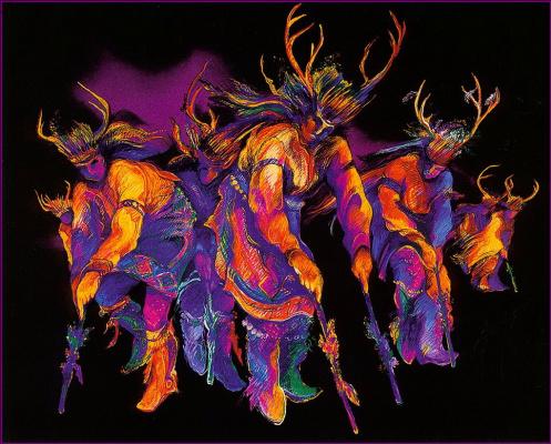 Красивый. Танцующие олени
