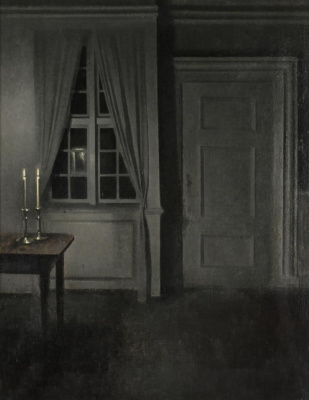 Wilhelm Hammerschey. Interior with two candles