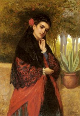 Джон Багнолд Берджесс. Испанская красотка с черным кружевным платком