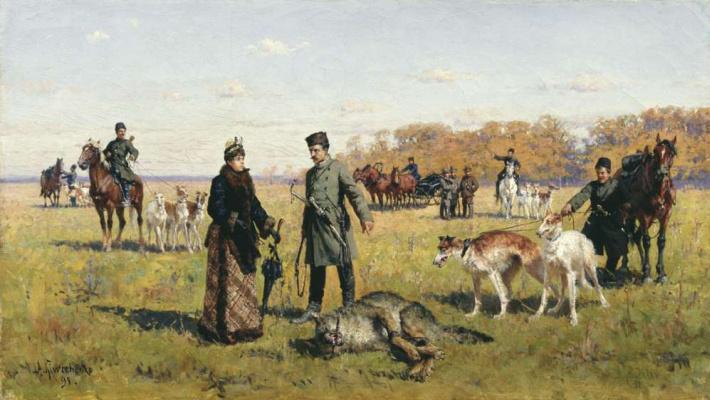 Alexey Danilovich Kivshenko. Zastrelennyj wolf. 1891