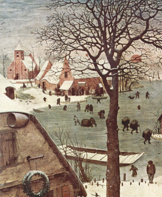 Pieter Bruegel The Elder. The census at Bethlehem. Fragment 3. View from the river