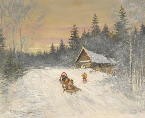 Konstantin Korovin. Russian village under the snow