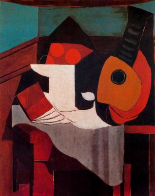 Pablo Picasso. The book, fruit bowl and mandolin