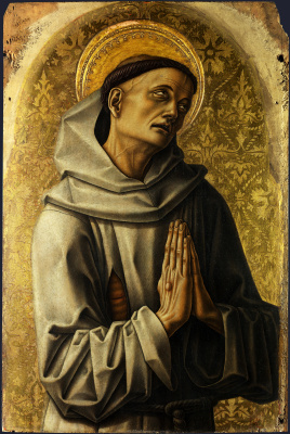 Карло Кривелли. Святой Франциск. Центральный алтарь Сан Доменико в Асколи, полиптих, левое внешнее навершие