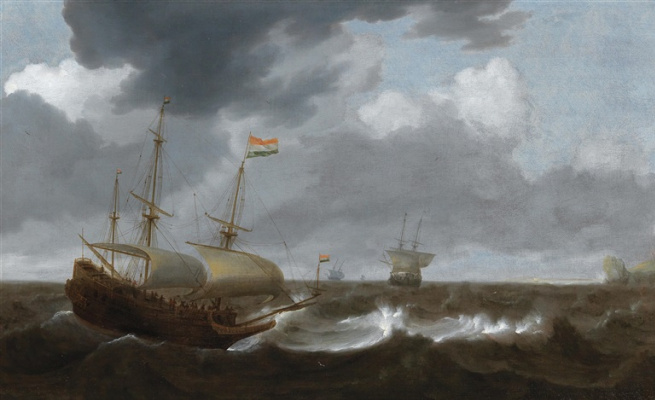 Ian Porcellis. Ships in a stormy sea
