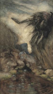 Arthur Rackham. Witch by the pond