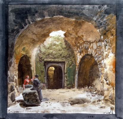 Жан-Пьер-Лоран Уэль. Вид гробницы в подземном гроте