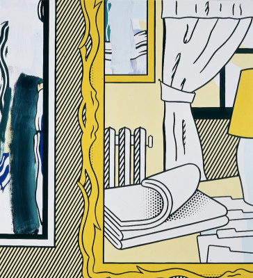 Roy Lichtenstein. Two paintings: radiator and folded sheets