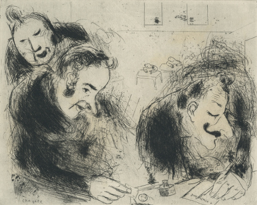 Marc Chagall. The author at the table. Illustration for Gogol's poem Dead Souls