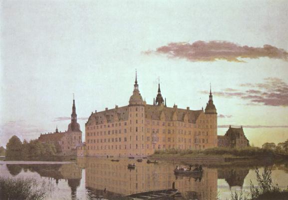 Кристен Кёбке. Замок Фредериксборг на закате