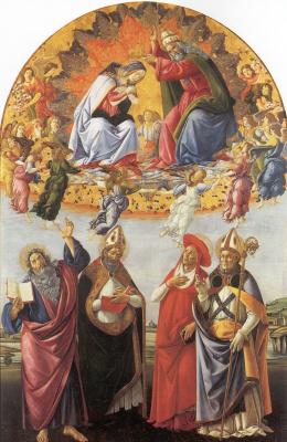 Sandro Botticelli. The Coronation Of Mary. The Altar Of San Marco