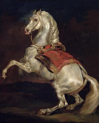 Théodore Géricault. Tamerlane. The horse of Emperor Napoleon under the red saddle