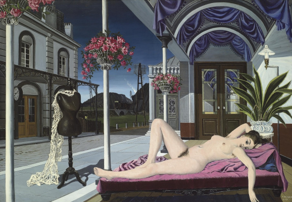Paul Delvaux Belgium 1897-1994. Nude and mannequin. 1947 Private collection