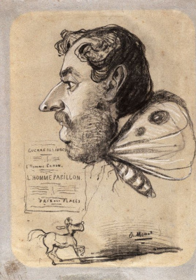 Claude Monet. Caricature of Jules Didier, butterfly Man