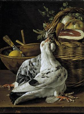 Луис Мелендес. Натюрморт с голубем, корзиной еды и чашей