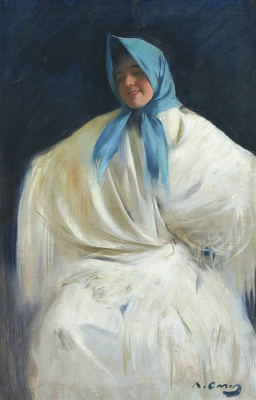 Рамон Касас Карбо. Hula Girl in a blue scarf