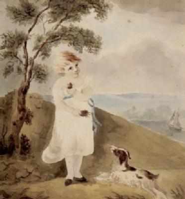 John Constable. A girl with a dog