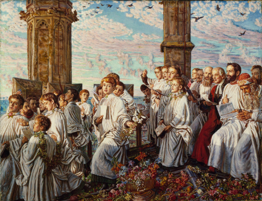 William Holman Hunt. The welcoming ceremony of the month of may, in Magdalen College, Oxford