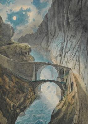 Cuno Amiè. Devil's bridge in the gorge Selene