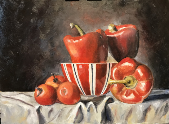 Svetlana Ivanova. Still life with red peppers