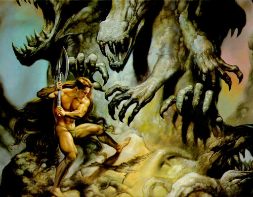 Boris Vallejo (Valeggio). An unequal battle