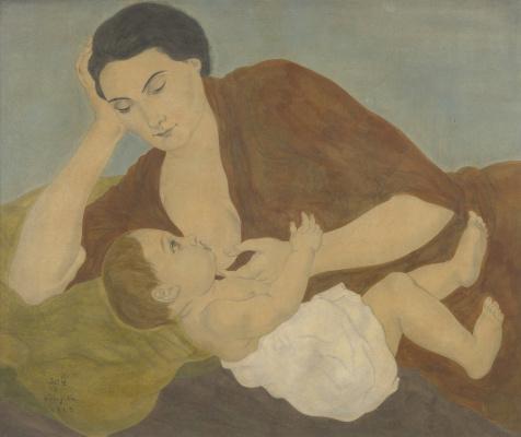 Цугухару Фудзита ( Леонар Фужита ). Мать и ребенок