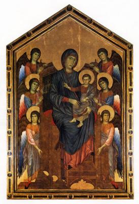Джованни Чимабуэ. Дева с младенцем в окружении шести ангелов